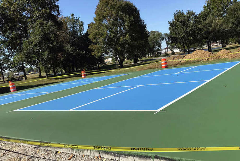 These two new pickleball courts are at the south end of Drost Park in Maryville and should open in November. Photo: For The Intelligencer