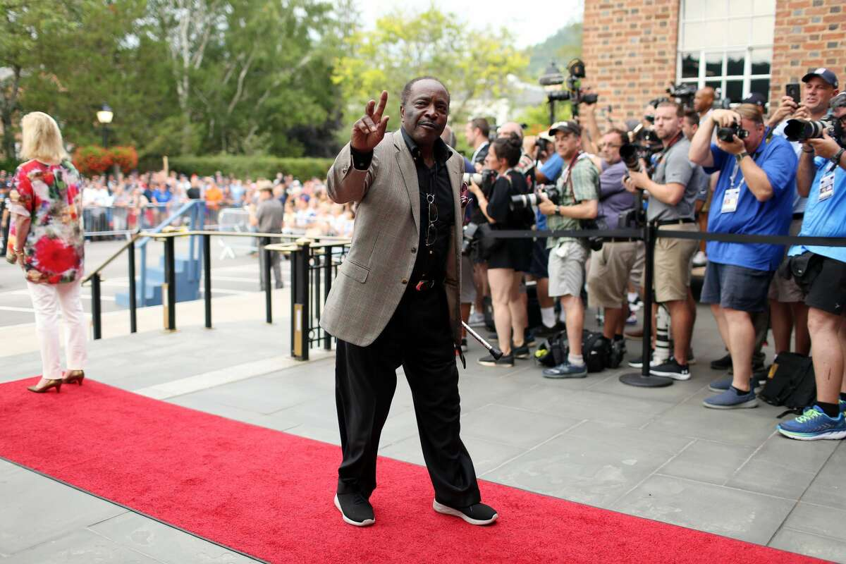 COOPERSTOWN, NY - JULY 20: Hall of Famer Joe Morgan arrives during the 2019 Hall of Fame Parade of Legends at the National Baseball Hall of Fame on Saturday July 20, 2019 in Cooperstown, New York. (Photo by Alex Trautwig/MLB Photos via Getty Images)