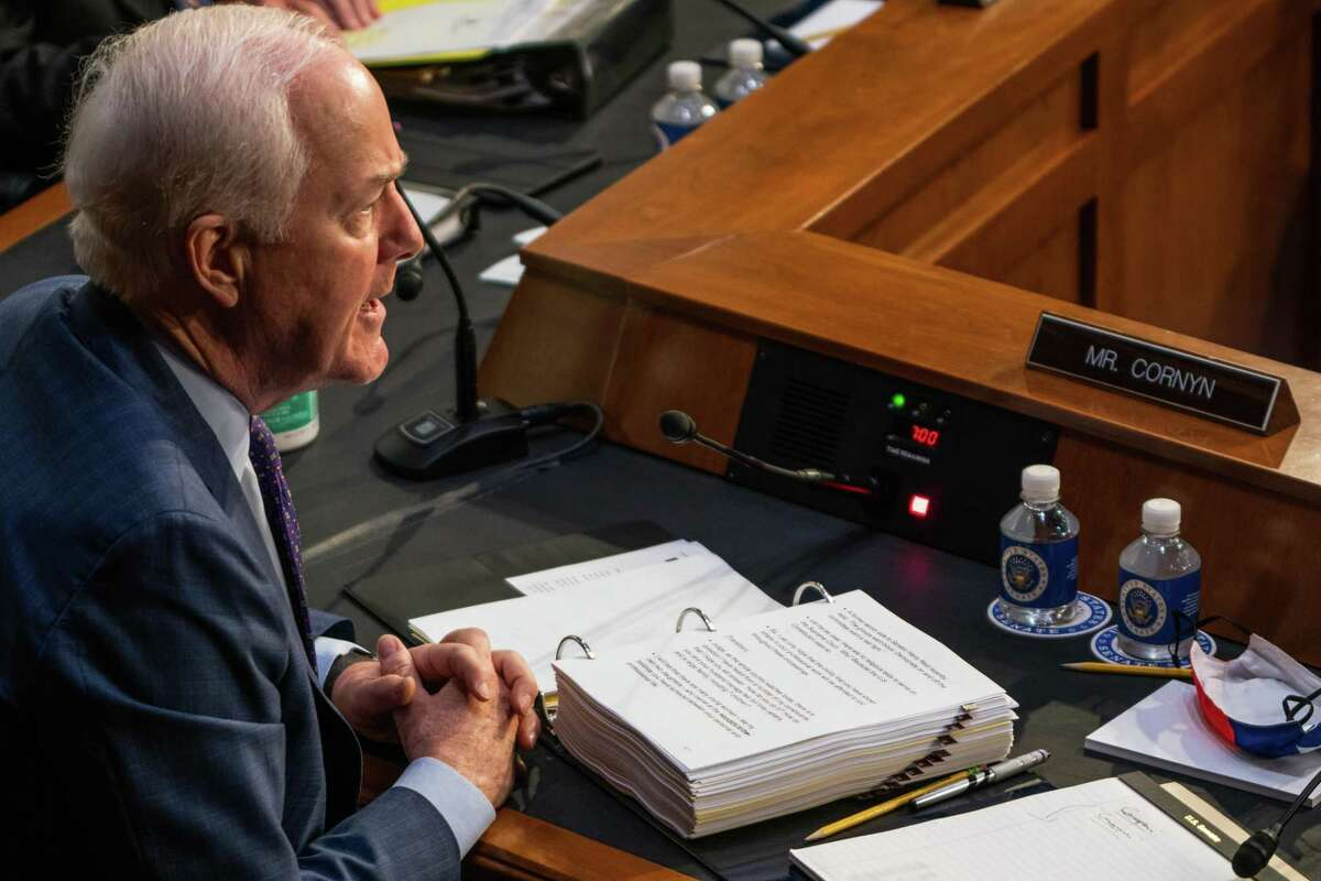 WASHINGTON, DC - OCTOBER 12: U.S. Sen. John Cornyn (R-TX) speaks during the Senate Judiciary Committee on the first day of Amy Coney Barrett's Supreme Court confirmation hearing on Capitol Hill on October 12, 2020 in Washington, DC. Barrett was nominated by President Donald Trump to fill the vacancy left by Justice Ruth Bader Ginsburg who passed away in September. (Photo by Demetrius Freeman - Pool/Getty Images)