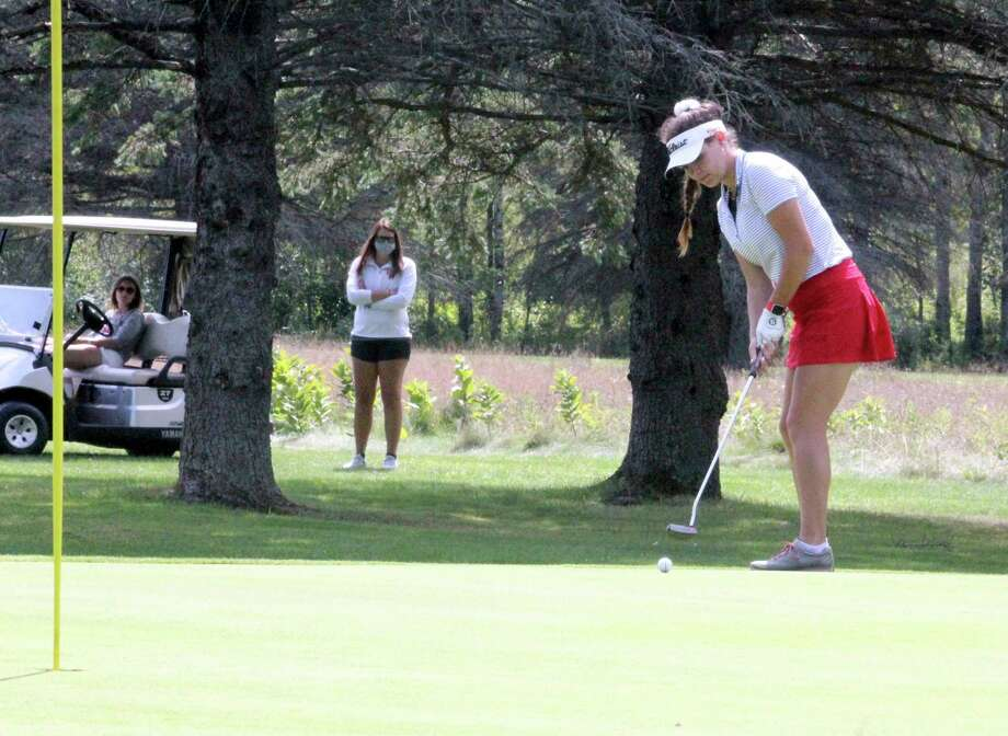 Avery Chaput, of Big Rapids, puts at The Pines Course earlier this season in Canadian Lakes. (Pioneer file photo/John Raffel)
