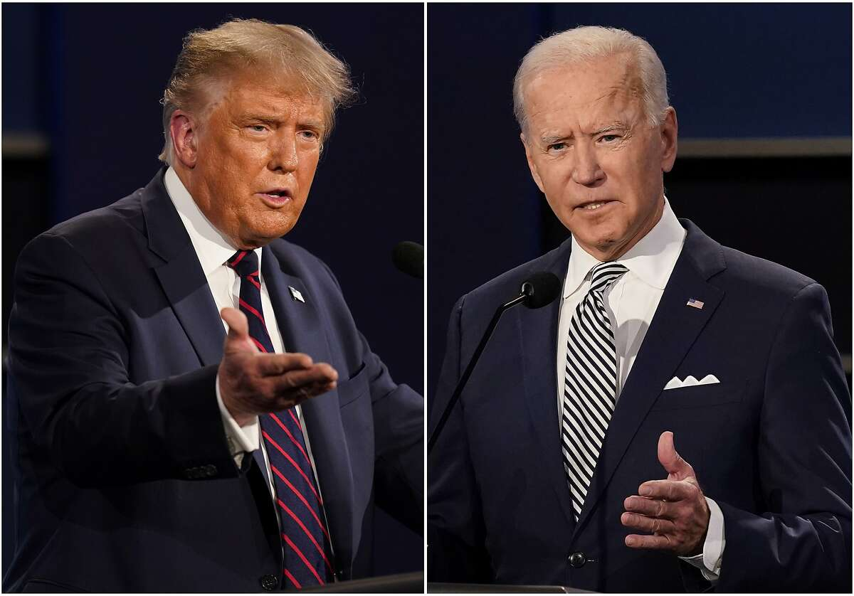 President Donald Trump, left, and former Vice President Joe Biden speak during the first presidential debate Sept. 29, 2020, at Case Western University and Cleveland Clinic, in Cleveland, Ohio, in this combination photo.