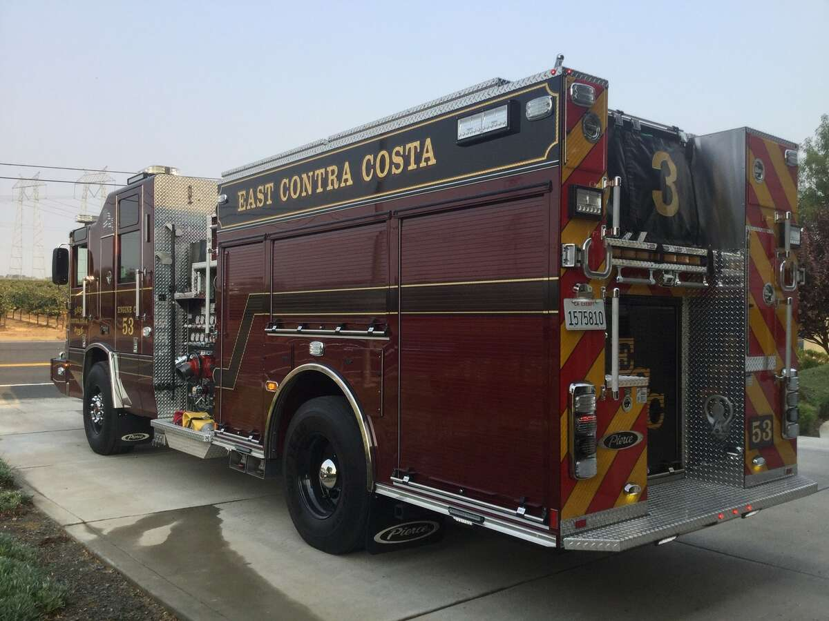 A fire truck belonging to the East Contra Costa Fire Protection District.