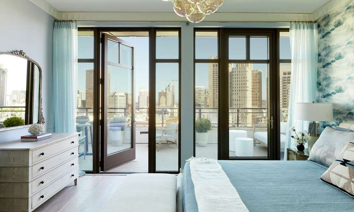 The owner's suite at Crescent's penthouse in Nob Hill opens to a terrace with views of the city.