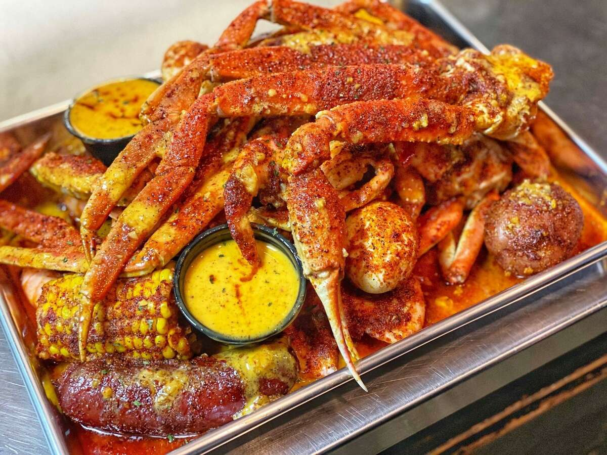A plate of snow crab, corn and potatoes from SA Seafood