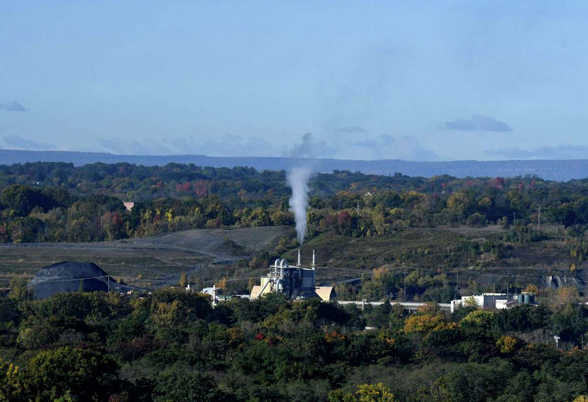 FILE. Emissions rise from the Norlite incinerator plant on Friday, Oct. 9, 2020, in Cohoes, N.Y. (Will Waldron/Times Union)