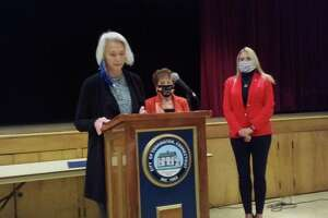 Torrington resident Marie Soliani was named the city's Italian Mayor of the Day Monday, during a ceremony at Coe Memorial Park's Civic Center. State Rep. Maria Horn spoke on Soliani's behalf, along with state Rep. Michelle Cook, right