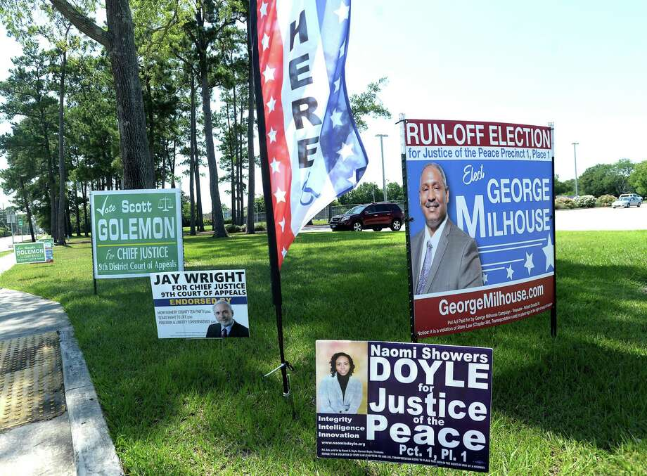 Political signs edge Rogers Park as candidates in run-off elections and other races get in their last bid for voters in Tuesday's election. Photo taken Monday, July 13, 2020 Kim Brent/The Enterprise Photo: Kim Brent / The Enterprise / BEN