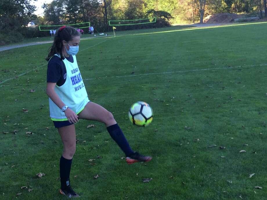 Alana Frederick is a senior captain on the Sacred Heart Greenwich soccer team. Photo: David Fierro /Hearst Connecticut Media