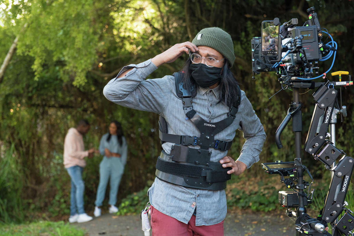 Cinematographer Isiah Flores on the set of
