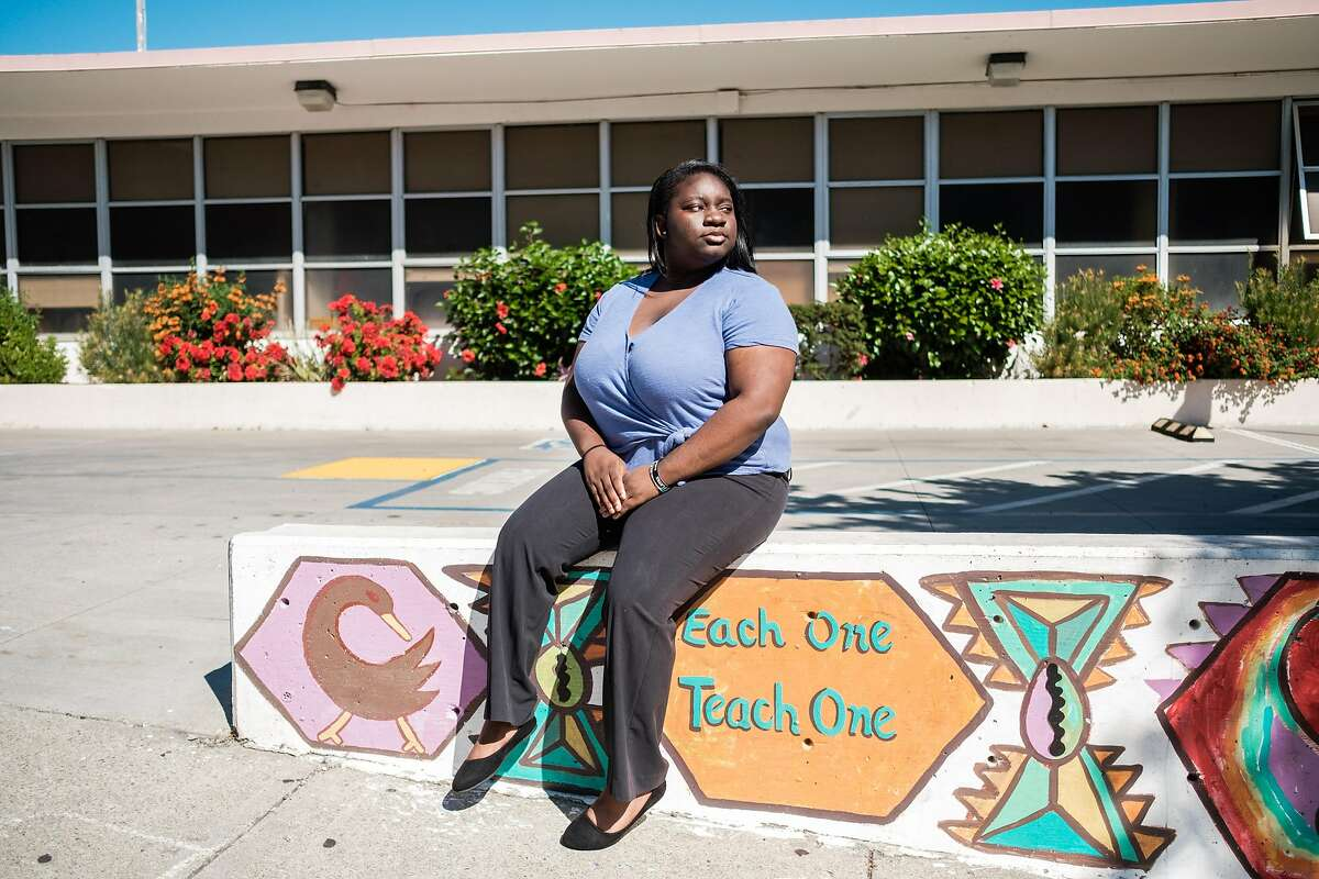 Shavonne Hines-Foster poses for a photograph near her home in San Francisco on Monday, October 12, 2020. Shavonne is a Lowell student and student board member. She has thoughts on the idea of making Lowell a random admission. She's been fighting for diversity for awhile at the school.