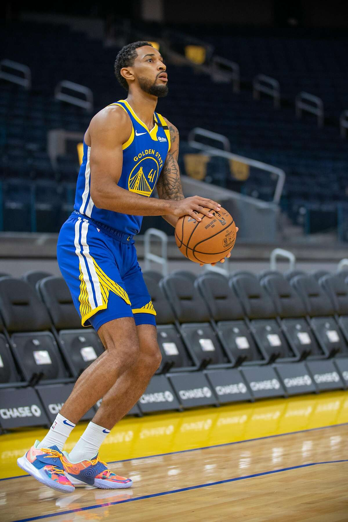 Guard Ryan Taylor scored 15 points in the Warriors' recent minicamp scrimmage at Chase Center.