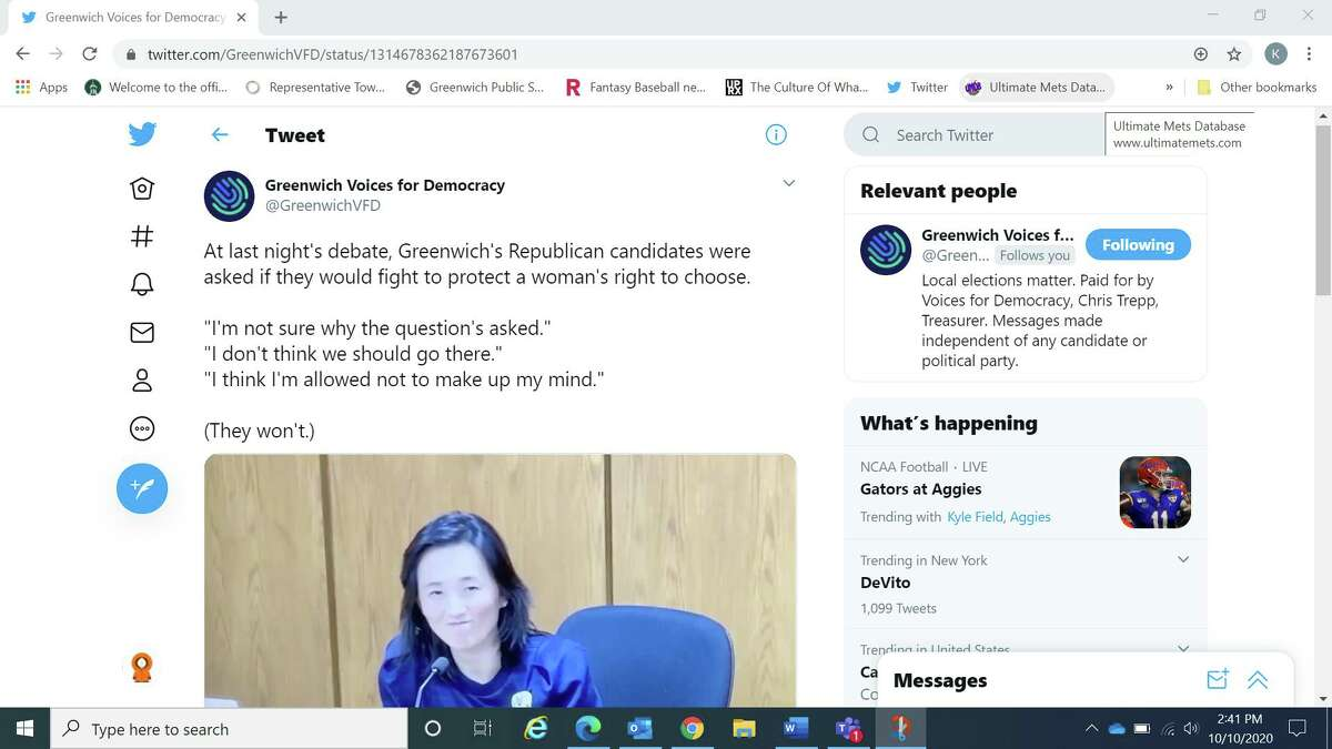 The ad was shared over social media including Twitter by both the Greenwich Voices for Democracy PAC and Indivisible Greenwich.