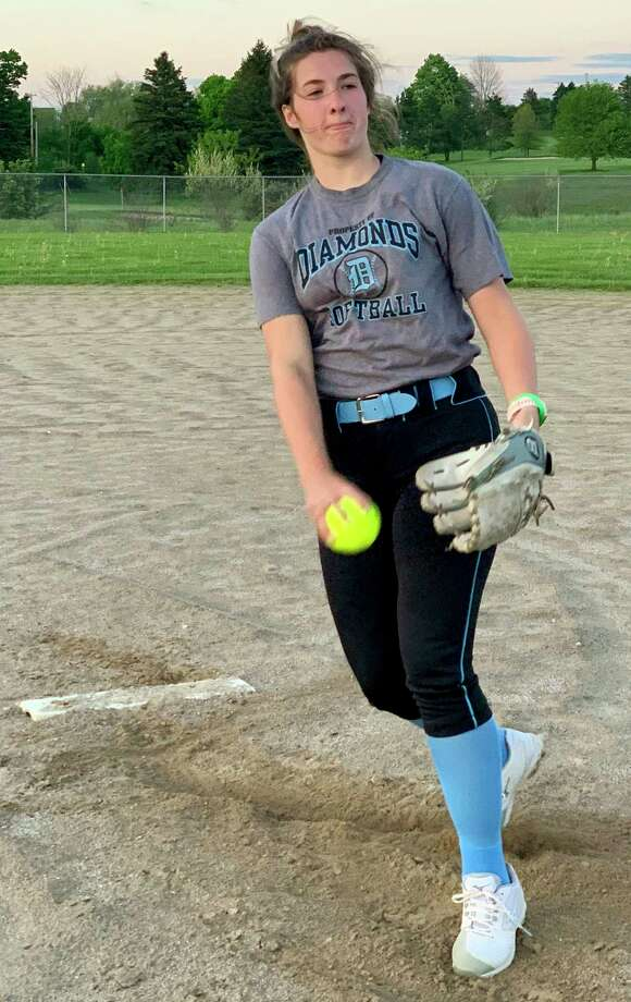 Big Rapids' Rylie Haist delivers a pitch for the Grand Rapids Diamonds during a summer practice. (Pioneer file photo)