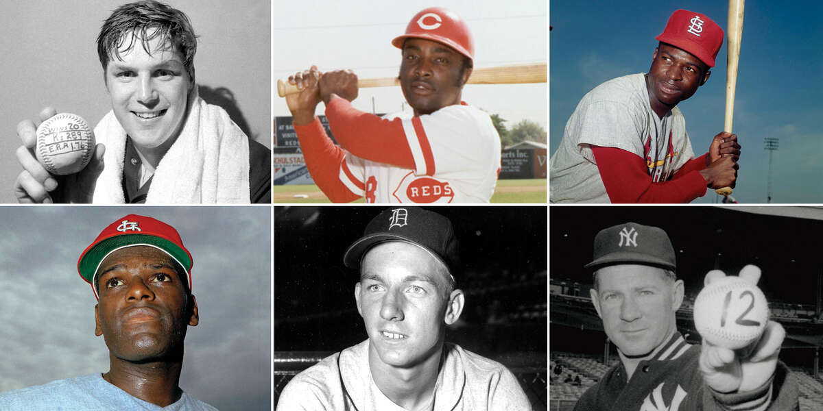 Clockwise, from top left: Hall of Famers Tom Seaver, Joe Morgan. Lou Brock, Whitey Ford, Al Kaline and Bob Gibson have all died in 2020.