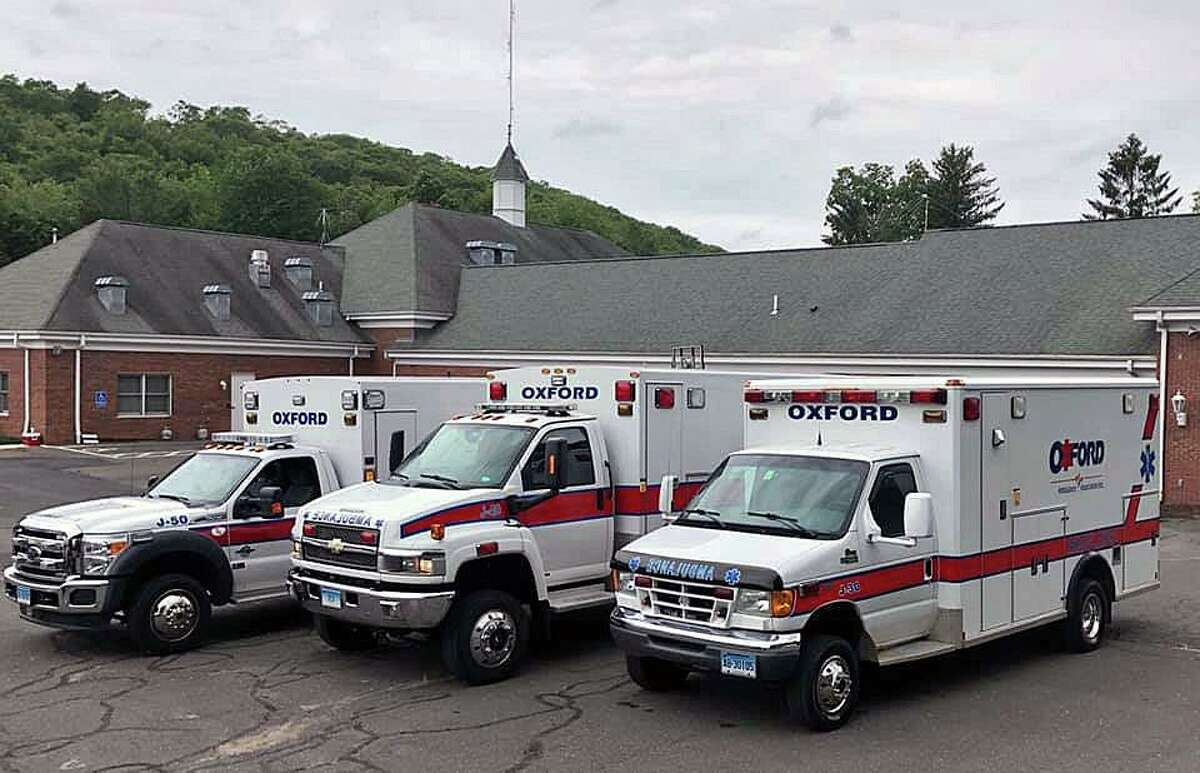 File photo of ambulances from the Oxford Ambulance Association in Oxford, Conn.