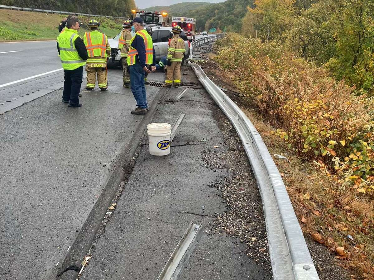 The aftermath of a crash on Route 8 near the Beacon Falls/Naguatuck, Conn., town line on Monday, Oct. 12, 2020.