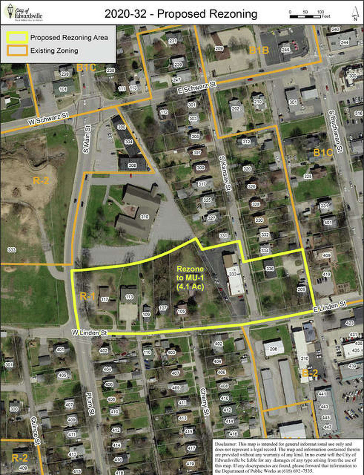 One of the proposed re-zoning areas is along Linden Street where it meets South Kansas Street. Ten properties are involved.