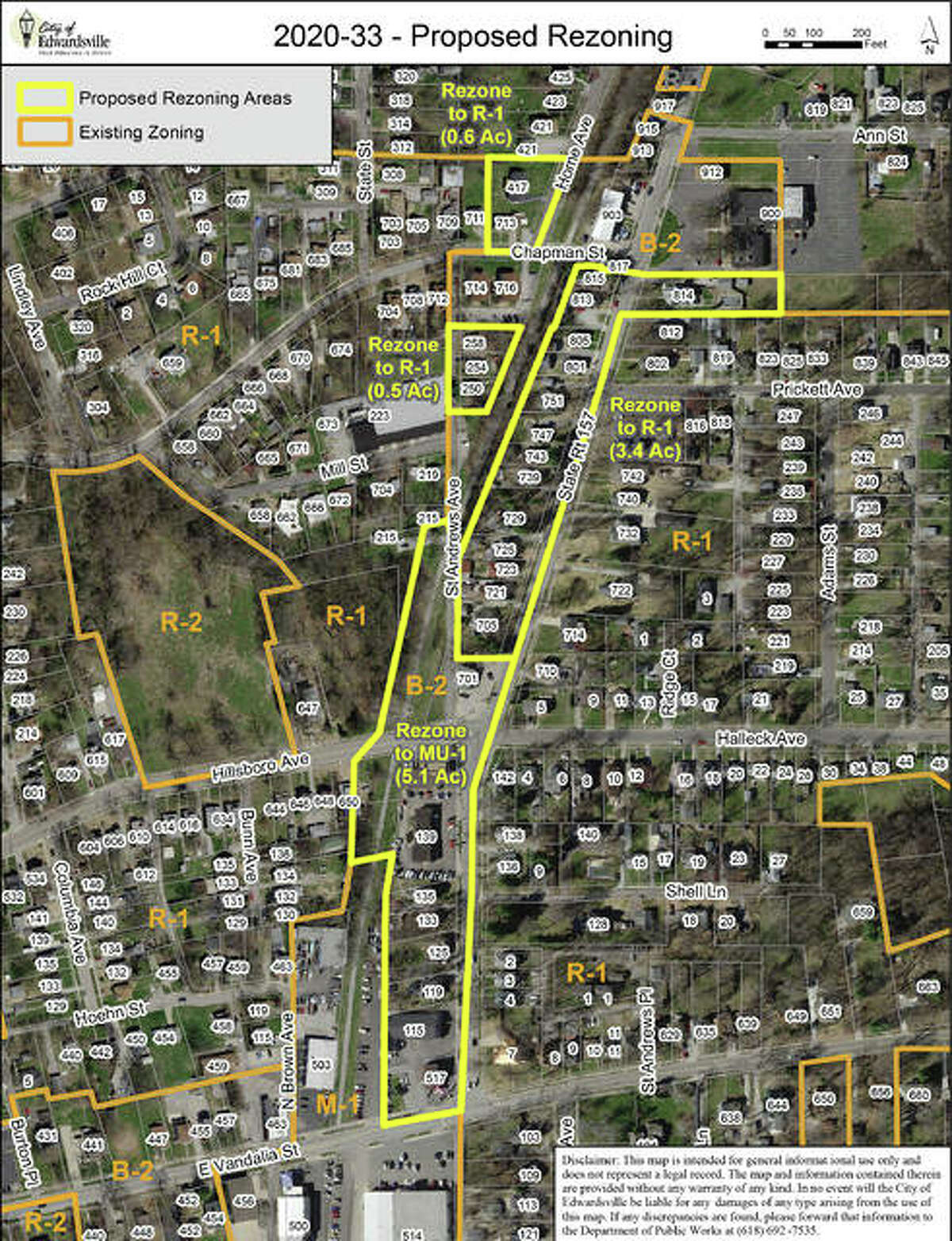 Another area is on the northeast side of town, from where Route 157 heads north from East Vandalia Street up to Chapman Street. There are 29 properties involved in this rezoning.