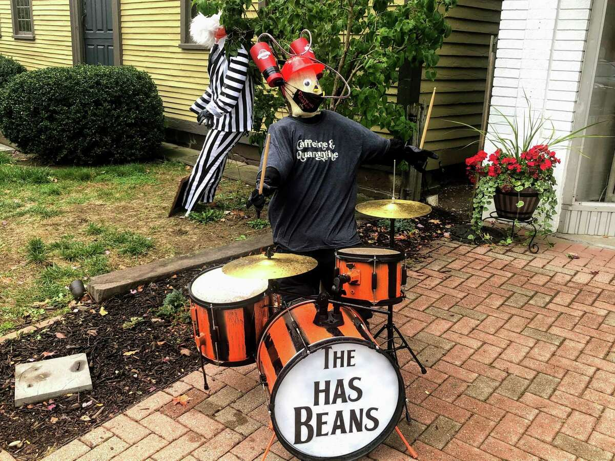A drummer bro fronts Beetlejuice on the plaza in downtown Wethersfield Oct. 12.