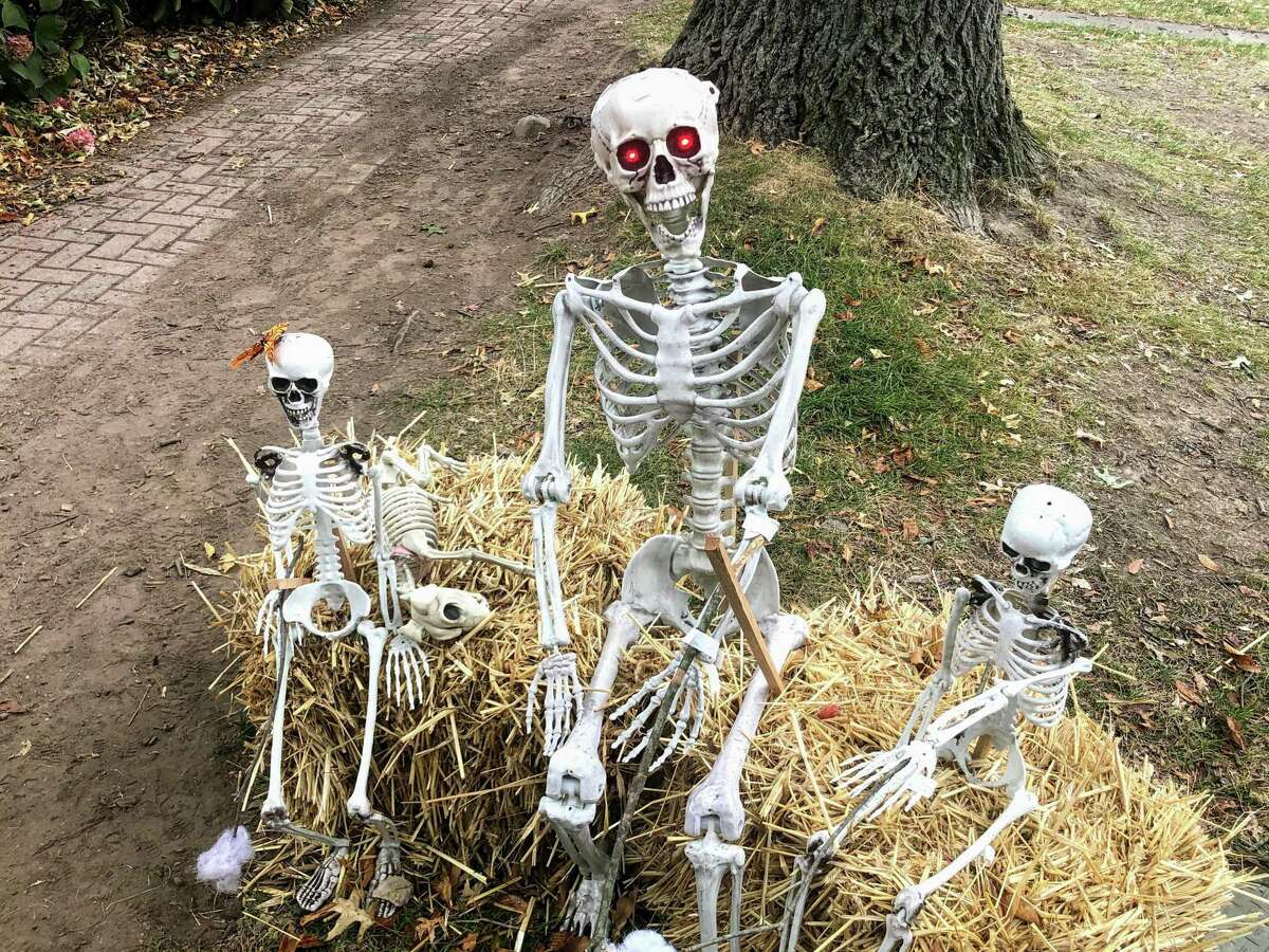 Skeletons help flesh out Wethersfield's 25th Annual Scarecrows Along Main Street the other day.