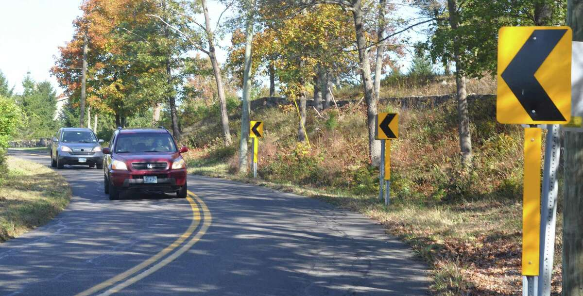 """Along Old Stagecoach Road clusters of """"chevron"""" arrow signs remain, directing motorists around curves."""