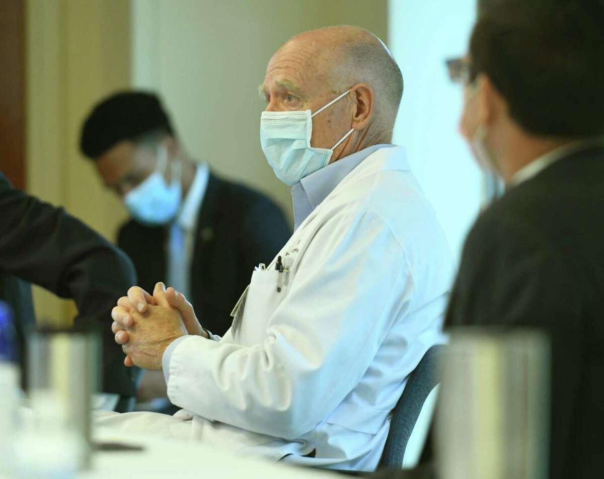 Stamford Health Chair of Infectious Diseases Dr. Michael Parry speaks during a COVID-19 roundtable discussion at Stamford Hospital in Stamford, Conn. Tuesday, Oct. 13, 2020. Joking aside, Parry said people do need to be careful when planning their holiday events, and use some common sense.