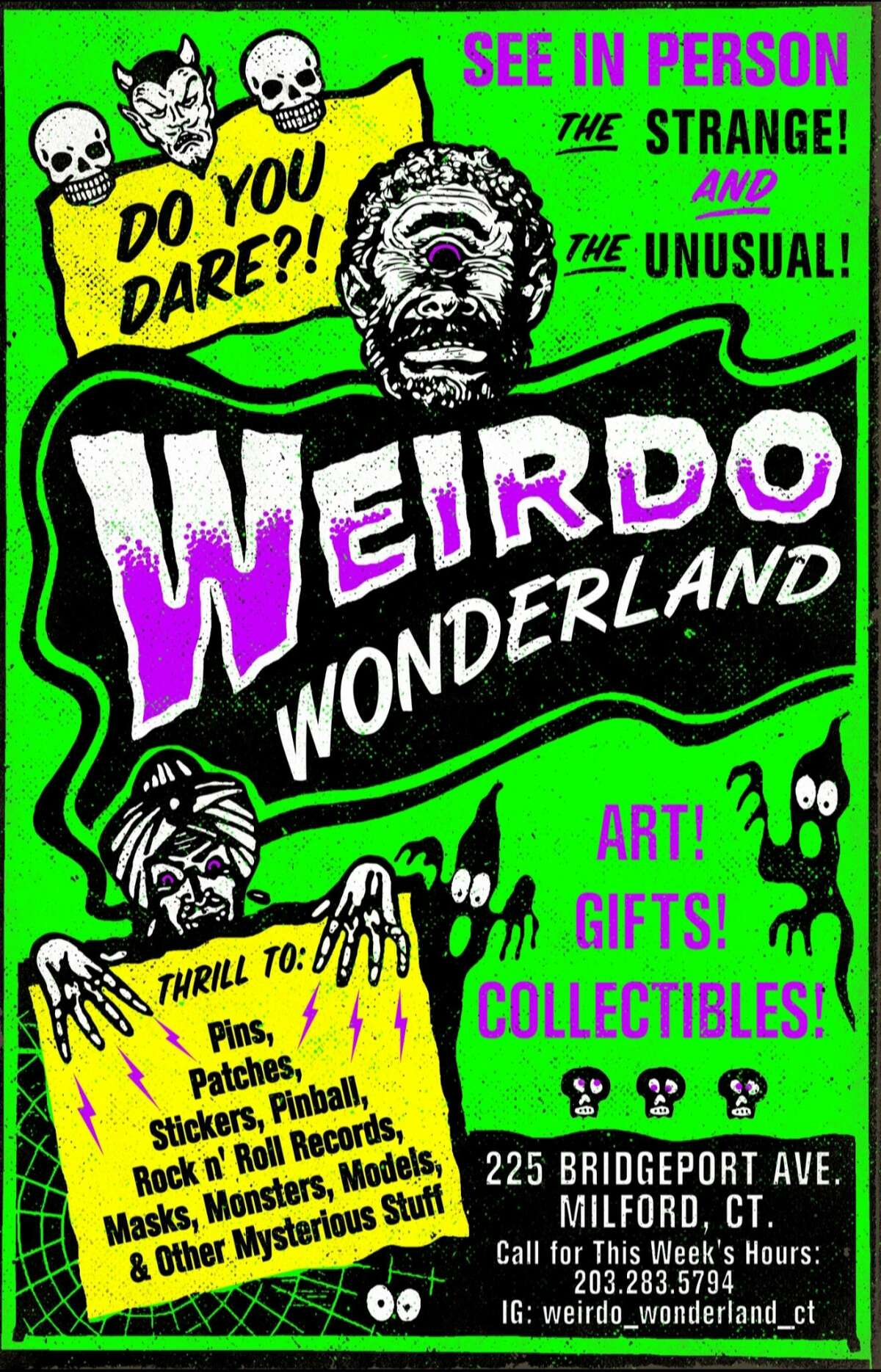 A flyer advertising Weirdo Wonderland. The Milford resident has been a fan of the genre since he can remember, recalling that he was only 5 years old when he watched his first horror movie. From that point, Bruce said, he was hooked.