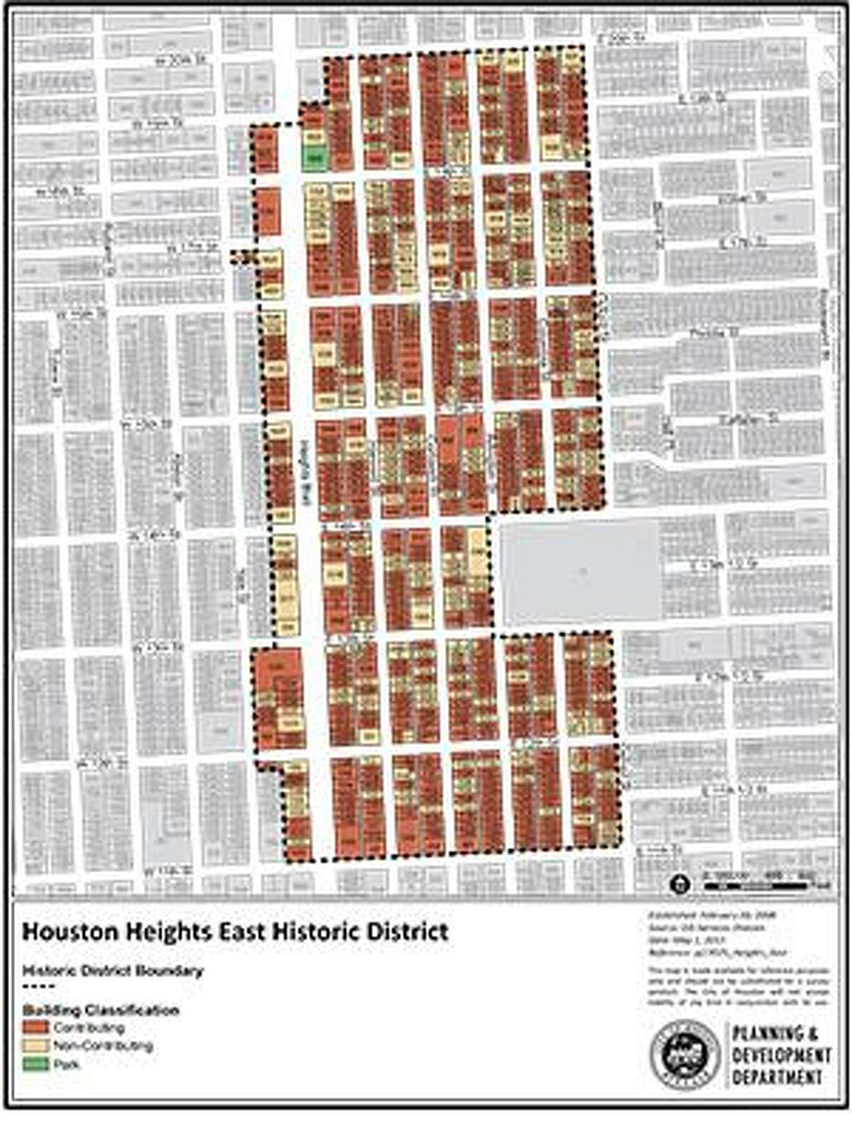 The Heights East historical boundaries.