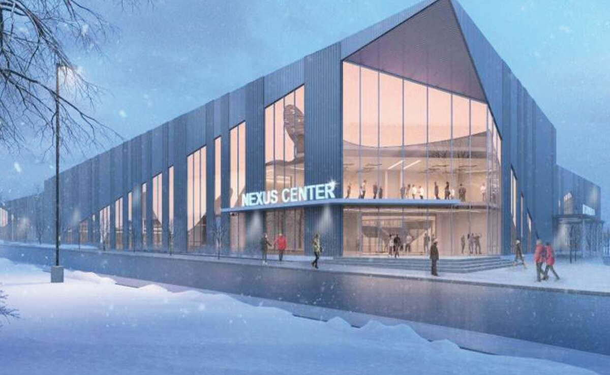 A rendering of the Nexus Center, a multi-faceted sports complex being built in downtown Utica