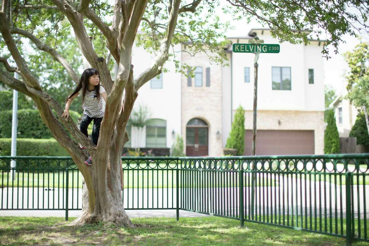 Kanin Arimura, 6, climbs a tree at the park of the Old Braeswood community on which she is a resident. She visited the park with her mother and sister on Wednesday, May 22, 2019, in Houston.