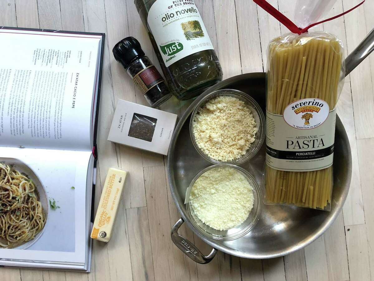A box of za'atar, center, muscles its way into more conventional Italian pasta ingredients: