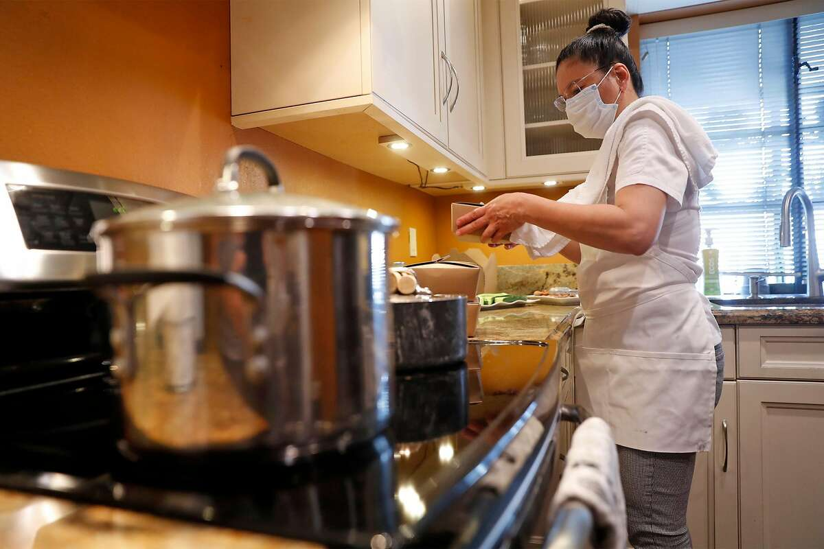Home kitchen entrepreneur Cheska Kistner cooks at home in Benicia as she awaits action in Solano County.