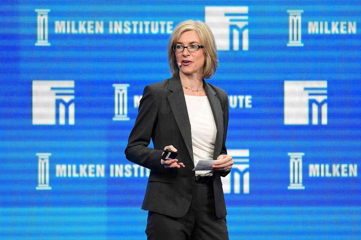 """In this file photo taken on May 02, 2016 Jennifer Doudna, Professor of Chemistry and of Molecular and Cell Biology, University of California, Berkeley; Investigator, Howard Hughes Medical Institute, addresses the audience during the lunch program """"The Future of Humankind"""" at the 2016 Milken Institute Global Conference in Beverly Hills, California. - Emmanuelle Charpentier (France) and Jennifer Doudna (US) were announced on October 07, 2020 as laureates of the 2020 Nobel Chemistry Prize."""
