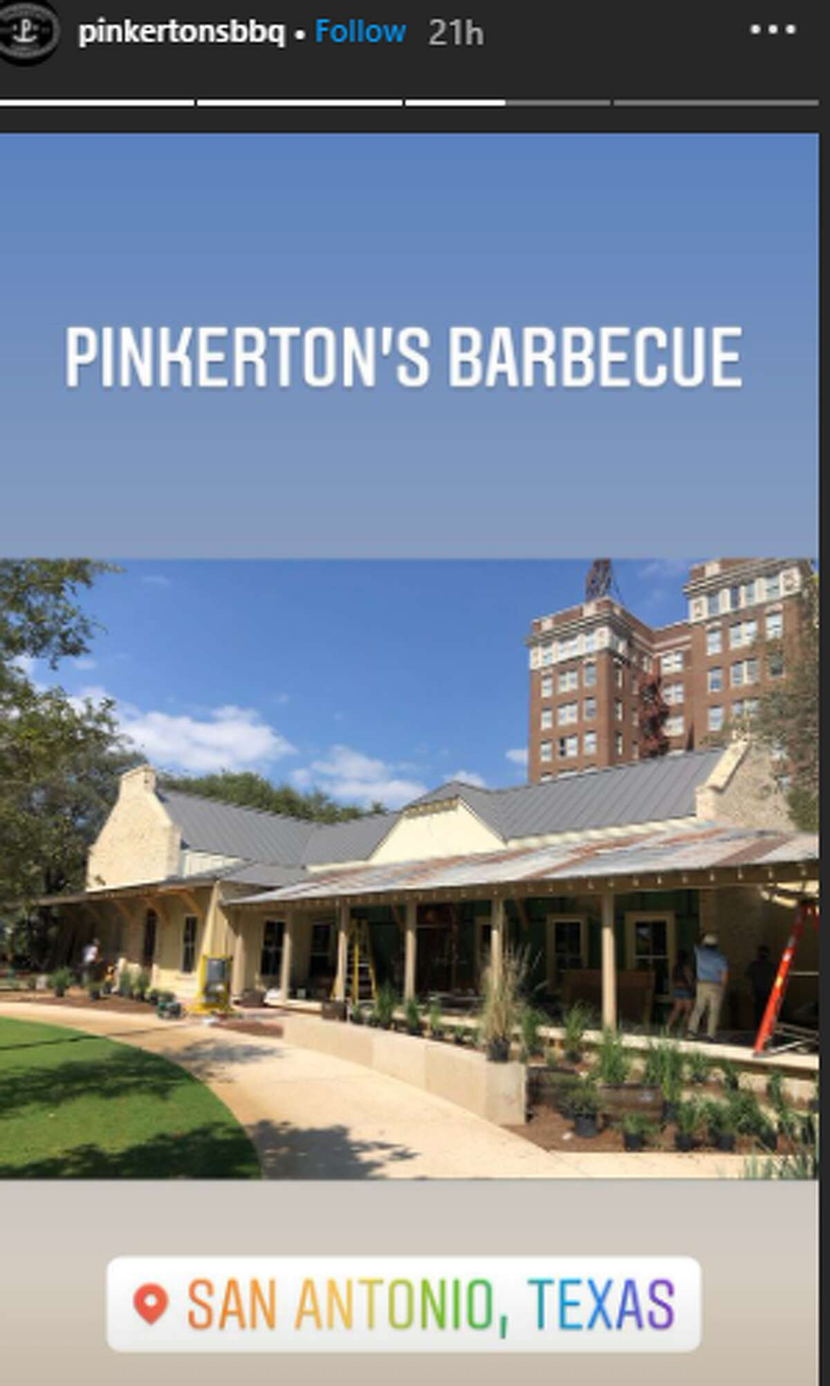 Pinkerton's, owned by Grant Pinkerton, announced the first San Antonio location in January 2019. On Monday, the restaurant shared an update with two photos, showing the bar and exterior of the spot at 107 W. Houston St., near Frost Tower.