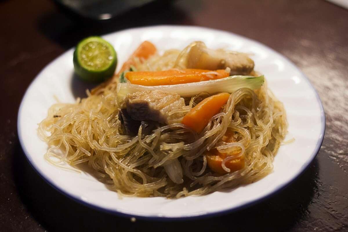 Pancit is a Filipino noodle dish.