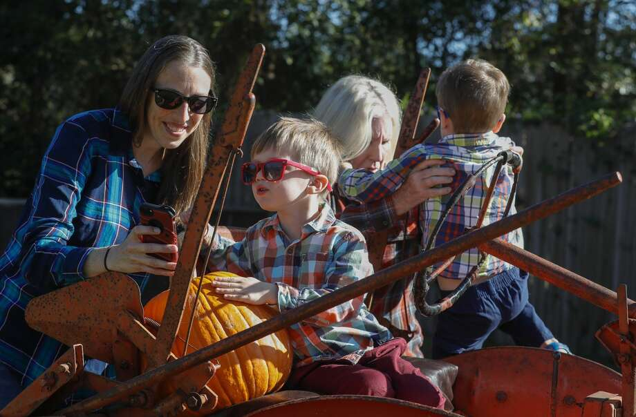 Miles Schechter looks over a group photo with his mother, Jody, as his grandmother, Debbie, helps his twin brother, Kai, off a trailer, at 7 Acre Wood, Wednesday, Oct. 7, 2020, in Conroe. The family-owned business on North Frazier Street is ready for the fall with 1,000 pumpkins and will host 'Thrill at the Mill,' a free event for families on Saturday, Oct. 31 from 10:00 a.m. to 3:00 p.m. with hayrides, barrel train rides, face painting, paintball, pumpkins and food. Photo: Jason Fochtman/Staff Photographer / 2020 © Houston Chronicle