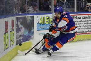 Grant Hutton of the Bridgeport Sound Tigers (44) goes after a loose puck during game five of round one in the AHL Calder Cup Playoffs between the Bridgeport Sound Tigers and the Hershey Bears on April 27, 2019 at the Webster Bank Arena in Bridgeport, CT.