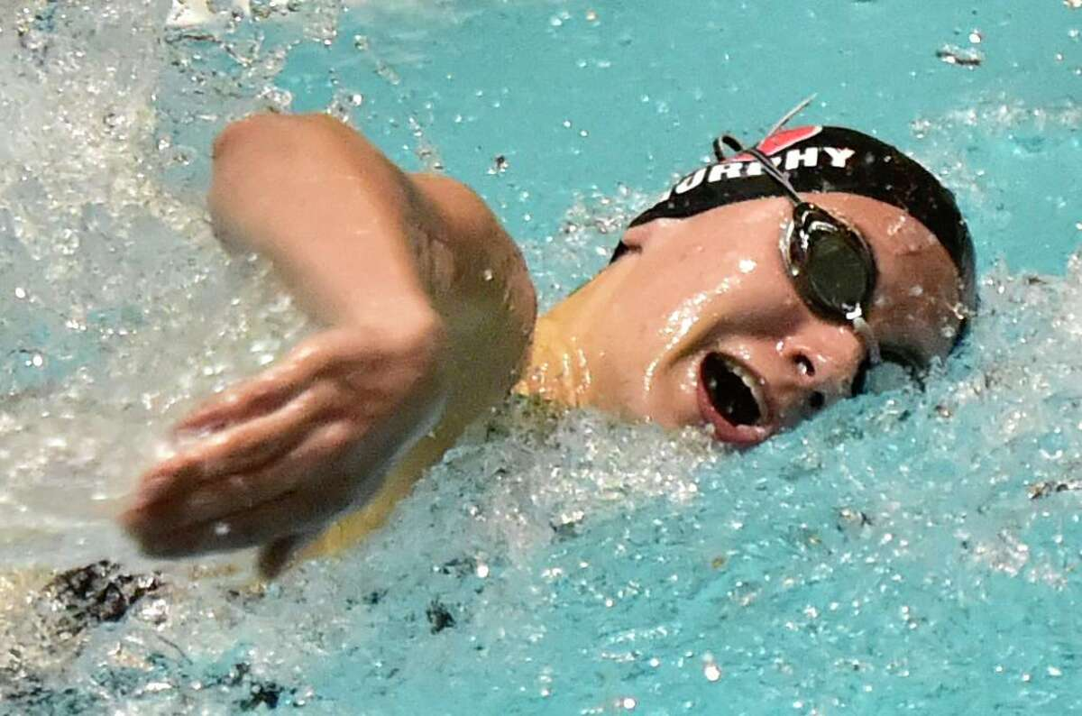 New Haven, Connecticut -Sunday, November 24, 2019: Sophie Murphy of Cheshire H.S. swims to victory in the 100 Yard Freestyle  during the CIAC State Open Girls Swimming Championship Sunday at Yale University in New Haven.