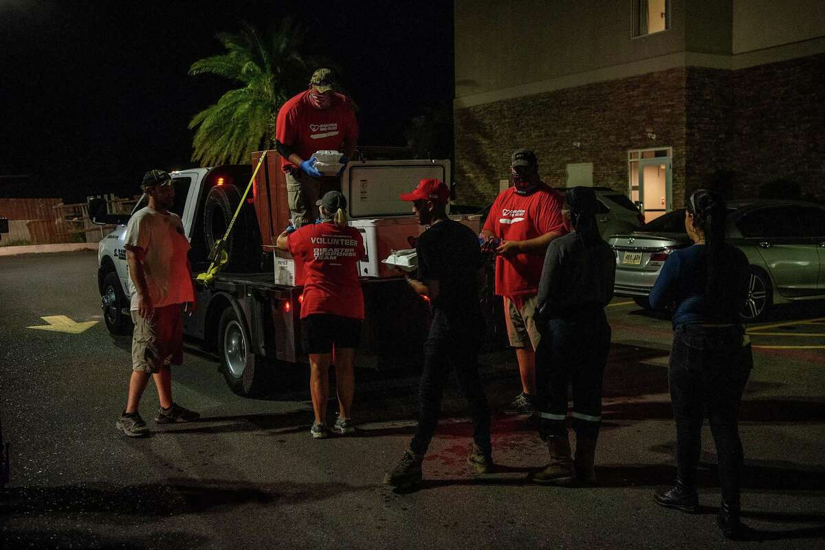 Operation BBQ Relief volunteers unloading a truck of supplies needed to prepare the meals for those affected by Hurricane Laura in Lake Charles, Louisiana.