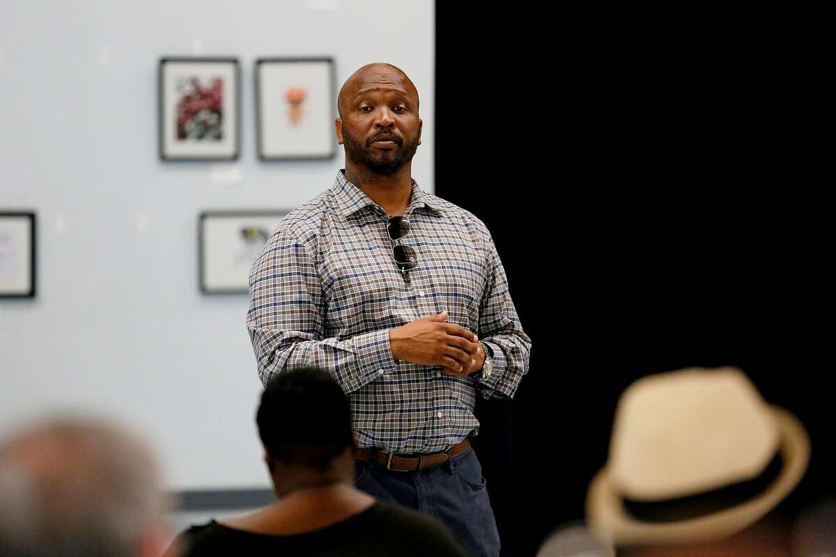 Vallejo City Councilmember Hakeem Brown during a town hall meeting at Pennycock Elementary School Saturday, June 22, 2019, in Vallejo, Calif.