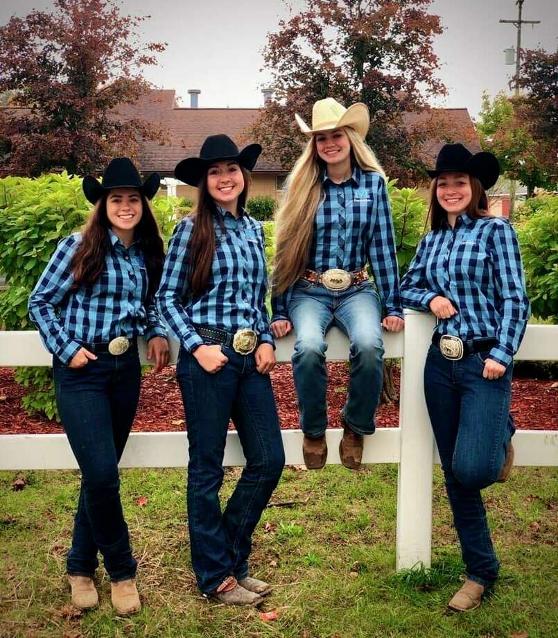 The Meridian equestrian team includes (from left) senior Jenna Holzinger, senior Cammy Ankoviak, sophomore Lola Smith and senior Morgan Glann.