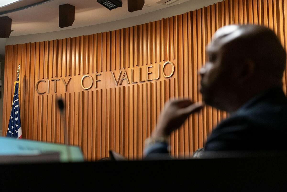 Council Member Hakeem Brown looks on during a city council meeting at City Hall in Vallejo, CA on June 25th, 2019.