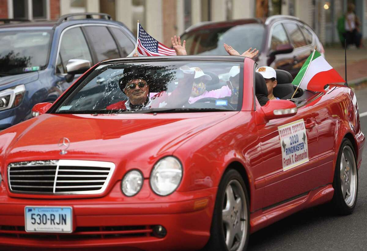 Barnum Festival 2020 Ringmaster Frank Gennarini rides in the annual Columbus Day Parade on Howe Avenue in Shelton on Sunday, October 11. This year's parade was scaled down dramatically due to the Covid-19 pandemic.