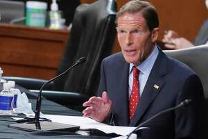 Sen. Richard Blumenthal, D-Conn., speaks before the Senate Judiciary Committee on day two of Judge Amy Coney Barrett's confirmation hearings to become an Associate Justice of the U.S. Supreme Court on Tuesday in Washington.