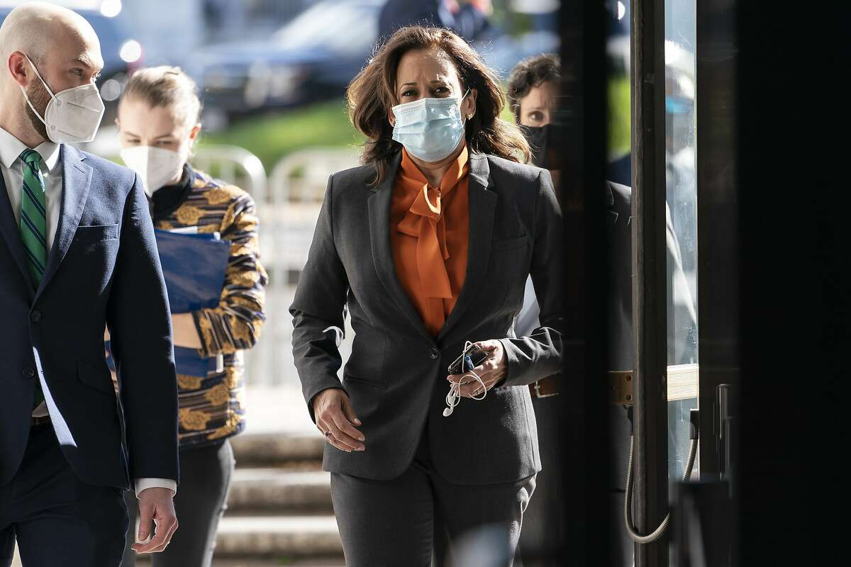 Democratic vice presidential candidate Sen. Kamala Harris, D-Calif., arrives on Capitol Hill for the confirmation hearing of Supreme Court nominee Amy Coney Barrett. Harris questioned Barrett via video link.