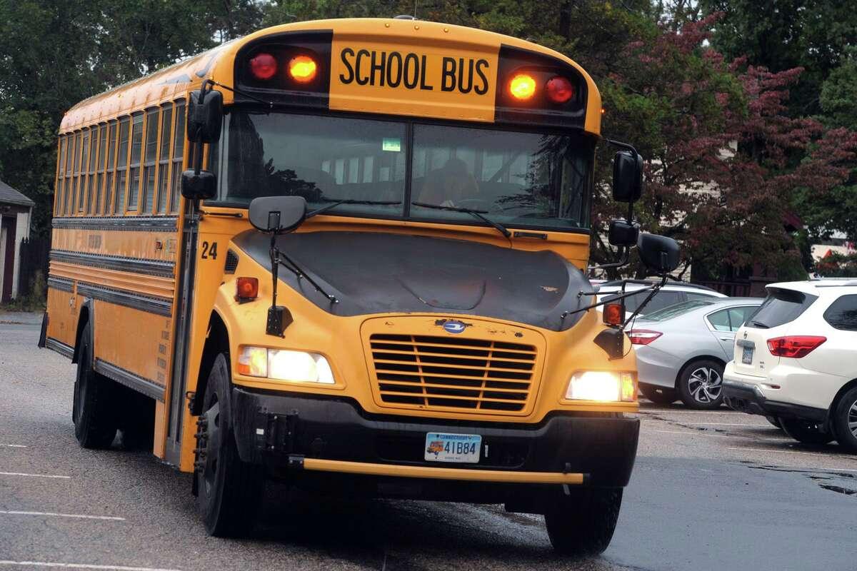 A City of Shelton school bus at Sunnyside Elementary School, in Shelton, Conn. Oct. 13, 2020.