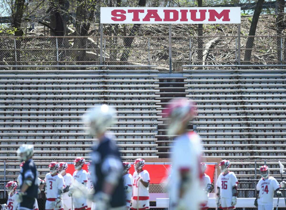 The Cardinal Stadium home bleachers are closed during a lacrosse game at Greenwich High School in Greenwich, Conn. in April of 2019. The Board of Estimate and Taxation's Budget Committee has authorized money to be spent on moving forward new bleachers for Greenwich High School's Cardinal Stadium and design for a new municipal ice rink.