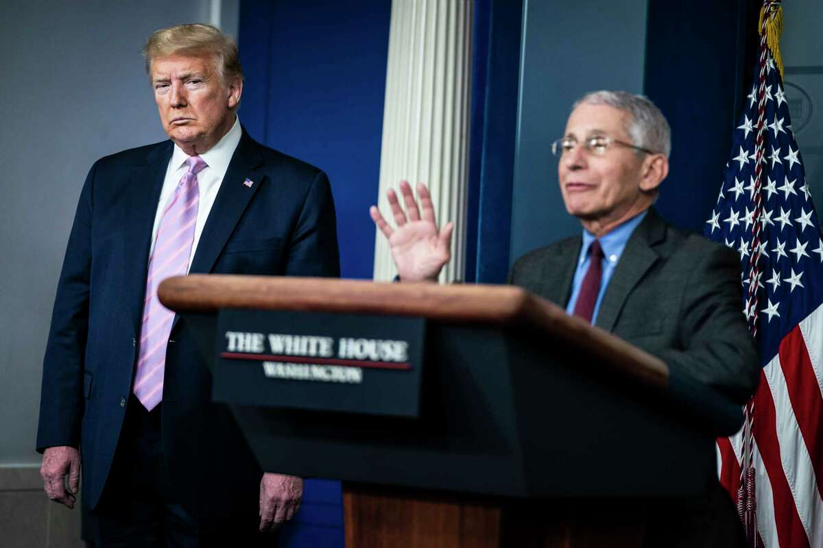 Director of the National Institute of Allergy and Infectious Diseases Anthony Fauci, right, and President Donald Trump are shown during a briefing on coronavirus at the White House on April 10, 2020 in Washington.