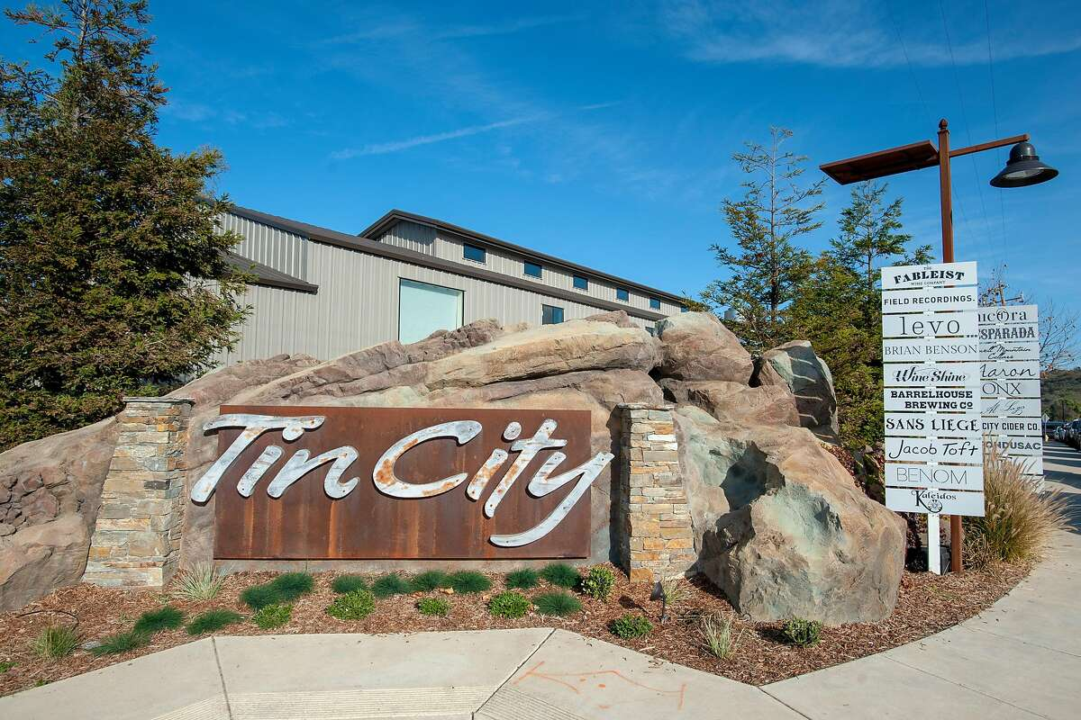 The entrance to Tin City in Paso Robles, Calif.
