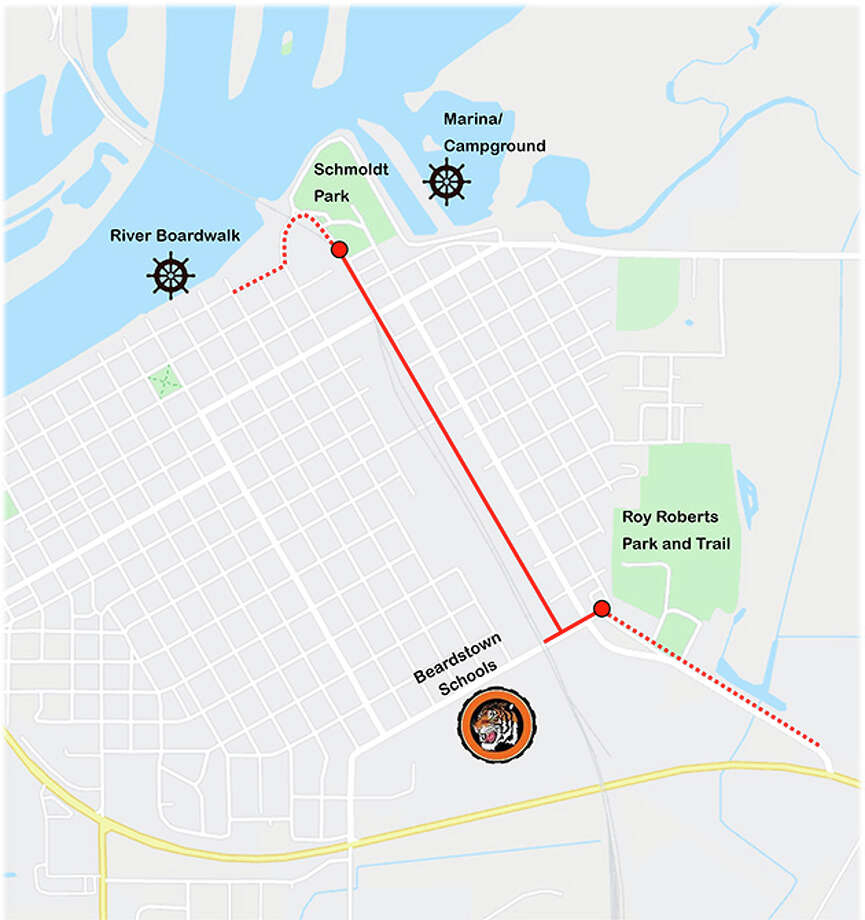 Beardstown has applied for a grant to help cover the cost of a bike path. Hutchison Engineering has created an illistration of the path, which would run from Schmoldt Park, near the marina, to East 15th Street near Beardstown Junior-Senior High School. Photo: Jeff Olson